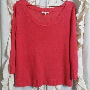 Eileen Fisher linen boat neck 3/4 sleeve sweater